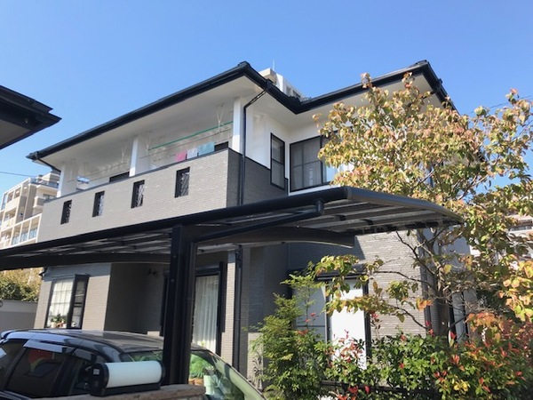9月29日完成です。福岡市西区下山門・U様邸 屋根塗装・外壁塗装・付帯部塗装・目地シーリング打ち替え工事