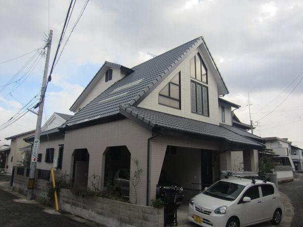 1/31完成です。筑紫野市二日市中央・K様邸 外壁塗装・屋根塗装工事